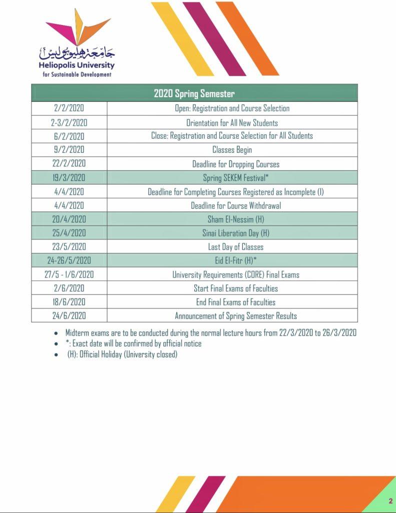 Heliopolis University Academic Calendar 2019